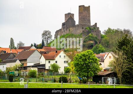 View of town Münzenberg with Münzenberg Castle, a ruined hill castle from the High Middles Ages, Wetteraukreis district, Hesse, Germany - Stock Photo