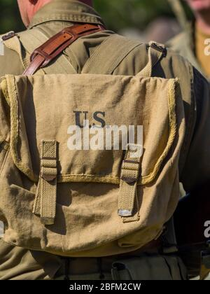 Reviving history of Slovenia Pivka museum of military history representing WW2 USA American army rucksack - Stock Photo