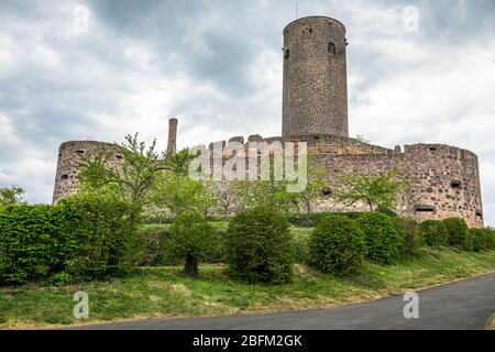 Münzenberg Castle, a ruined hill castle from the High Middles Ages in town Münzenberg, Wetteraukreis district, Hesse, Germany - Stock Photo