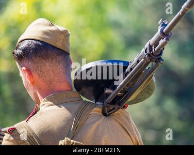 Reviving history of Slovenia Pivka museum of military history representing WW2 Russian army - Stock Photo