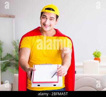 The superhero pizza delivery guy with red cover - Stock Photo