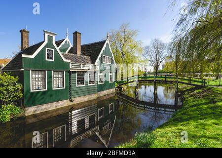 Traditional Dutch House in Zaanse Schans, The Netherlands - Stock Photo