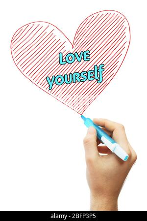 Male hand with marker writing Love yourself - Stock Photo