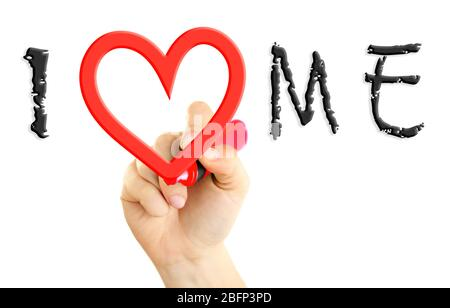 Love yourself concept. Hand writing I Love Me on transparent whiteboard - Stock Photo