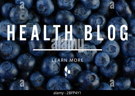 Heap of tasty ripe blueberries close up. Health blog concept - Stock Photo