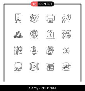 User Interface Pack of 16 Basic Outlines of personal, programing, interface, development, curves Editable Vector Design Elements - Stock Photo
