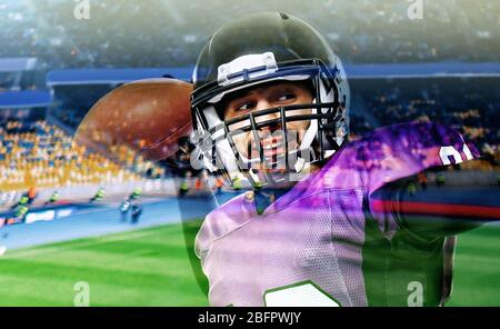 Double exposure of American football player and stadium - Stock Photo