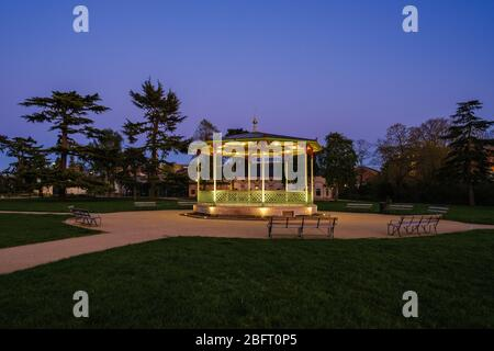 Victorian Bandstand in the Royal Pump Rooms Gardens, Royal Leamington Spa, one month after its 2019 refurbishment, completed in March 2020.