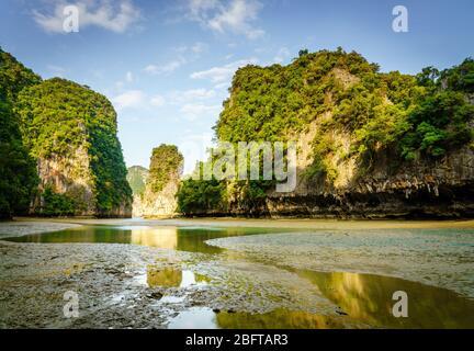 Lagoon inside Koh Hong island in Andaman Sea during low tide - Stock Photo