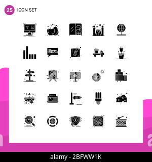 Set of 25 Modern UI Icons Symbols Signs for world, navigation, furniture, globe, premium Editable Vector Design Elements - Stock Photo