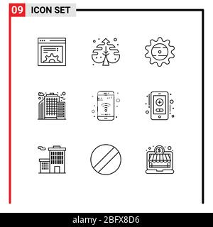 9 Universal Outlines Set for Web and Mobile Applications wifi, mobile, cap, app, city Editable Vector Design Elements - Stock Photo