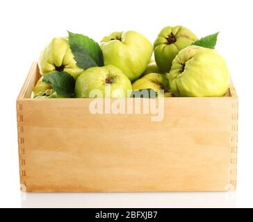 sweet quinces with leaves in wooden crate, isolated on white - Stock Photo