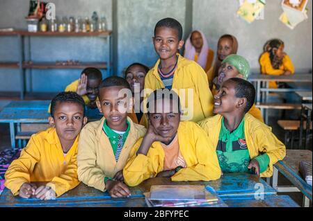 HARAR - ETHIOPIA - DECEMBER 25, 2012: Unidentified young muslim boys in Primary school in Harar, Ethiopia, Africa