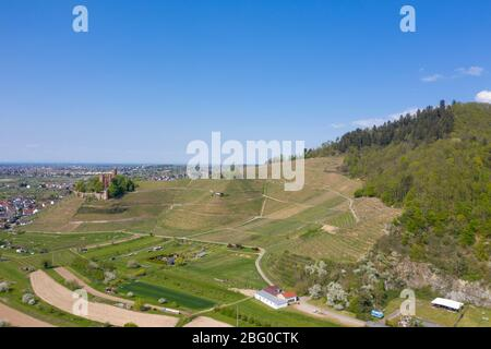 Aerial drone view, Ortenberg Castle with landscape of the Kinzig valley, Ortenberg, Black Forest, Baden-Wurttemberg, Germany, Europe - Stock Photo