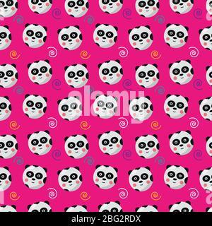 panda  seamless pattern animal vector illustration background - Stock Photo