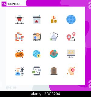 Set of 16 Vector Flat Colors on Grid for globe, contact us, web, contact, analysis Editable Pack of Creative Vector Design Elements - Stock Photo