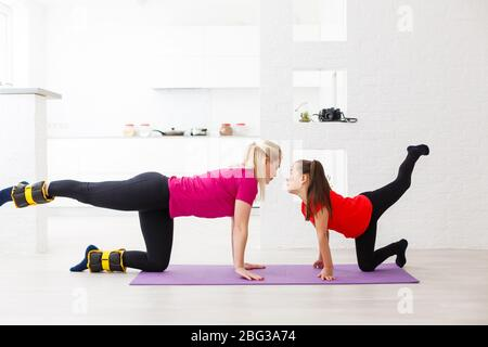 asian girl doing fitness at home  young beautiful and