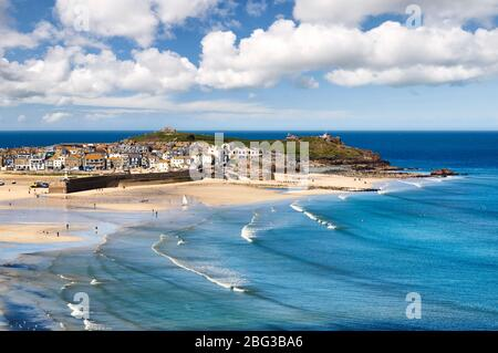 View overlooking St Ives, Cornwall - Stock Photo
