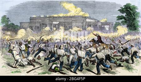 Fight at Allahabad during the Sepoy Rebellion in India, 1857. Hand-colored woodcut - Stock Photo