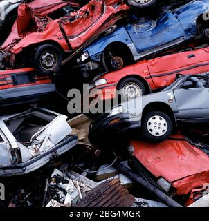 pile of wrecked cars at a junk yard in Reykjavik / Iceland - Stock Photo