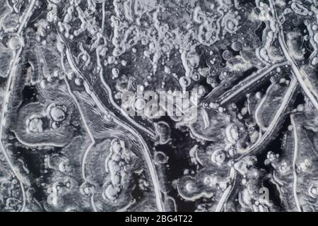 Pattern in a Frozen Lake as seen from a drone - Stock Photo