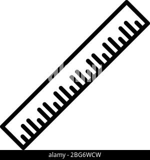 Desk ruler icon, outline style - Stock Photo