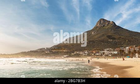 Camps Bay (Cape Town), Soutch Africa with a fantastic sky during winter season - Stock Photo