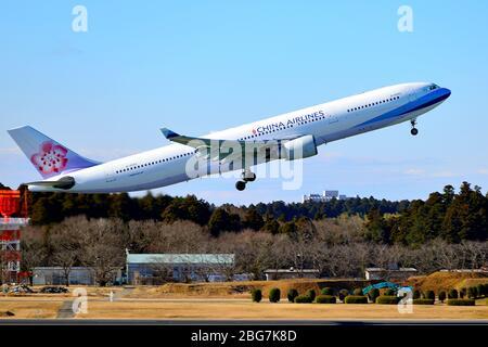 China Airlines, Taiwan, Airbus, A330-300, B-18352, Take Off, Narita Airport, Chiba, Japan