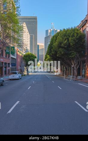 San Francisco Downtown is virtually empty during the city lockdown for COVID-19, April 2020, California, USA
