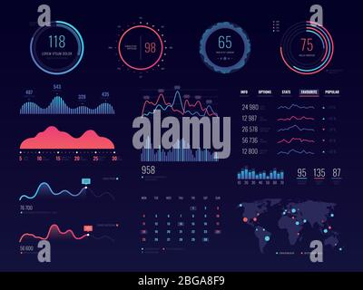Intelligent technology hud vector interface. Network management data screen with charts and diagrams. Interface screen with colored infographic digital illustration - Stock Photo