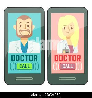 Flat mobile doctor, personalized medicine male and female consultant on smartphone. Vector consultation doctor online, healthcare medical illustration - Stock Photo