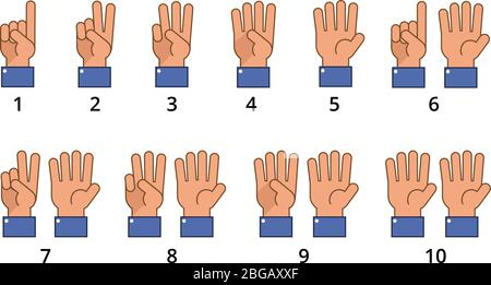 Counting hand. Countdown gestures, language number flat signs isolated. Countdown hand finger, number gesture of set vector illustration - Stock Photo
