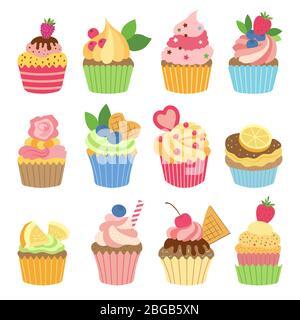 Wedding vanilla cupcakes isolated on white background. Vector illustrations set in flat style - Stock Photo