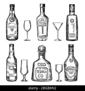 Vintage hand drawing different bottles. Vector illustration set - Stock Photo