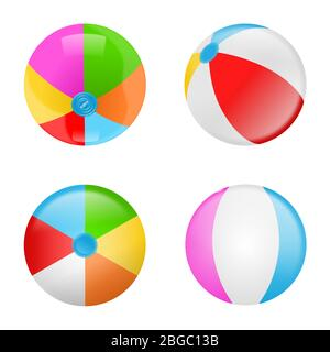 Set of colorful beach balls. Collection of inflatable rubber balls - Stock Photo