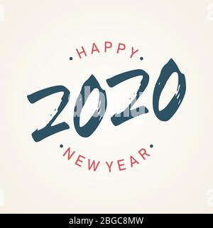 Vintage Happy 2020 new year banner for your seasonal holidays. Design background 2020. Vector illustration EPS.8 EPS.10 - Stock Photo