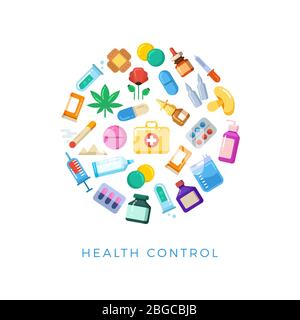 Medicinal health control round concept - bright pills bottles drugs icons. Medical health control, cigarette and syringe, poppy and mushroom, marijuana drug. Vector illustration - Stock Photo