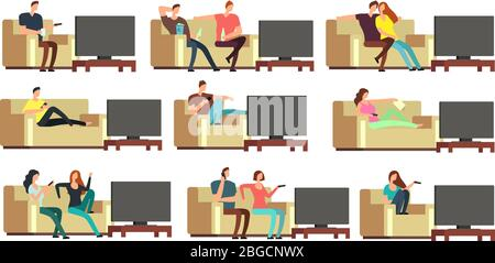 Happy family at home watching tv. Young couple resting on comfortable couch vector set. Couple man and woman on sofa illustration
