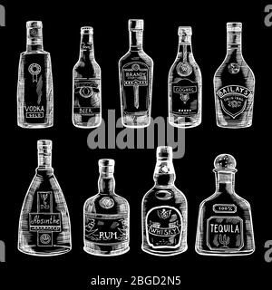 Hand drawn illustration of different bottles isolate on dark background. Vector pictures set - Stock Photo