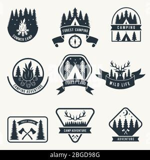 Adventure monochrome badges set. Silhouette of tent. Camping vector labels - Stock Photo