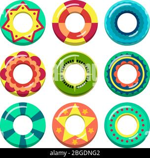 Lifeguard swimming rings in different colors. Vector illustrations of inflatable toys - Stock Photo