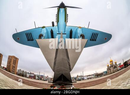Samara, Russia - November 12, 2017: Monument to low-flying attack soviet airplane 'Ilyushin 2' of the Second World War - Stock Photo