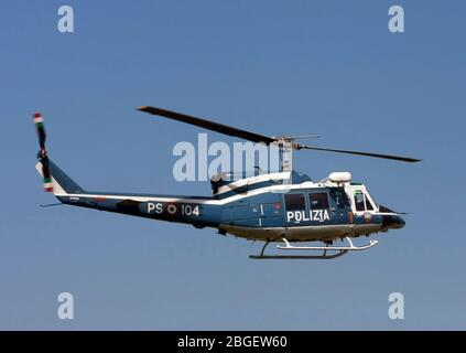 Italian Police helicopter Polizia PS-104 Agusta AB-212 Photographed in Milan, Italy - Stock Photo
