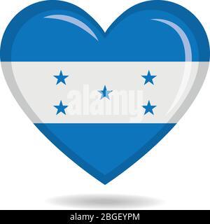 Honduras national flag in heart shape vector illustration - Stock Photo