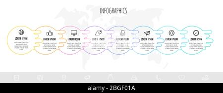 Business diagram with 8 circular elements and icons. Vector flat concept of eight business options to choose from. Infographics modern design for flow - Stock Photo