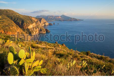 View of Lipari and Vulcano island from Belvedere Quattrocchi, Lipari, Sicily, Italy - Stock Photo
