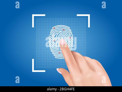 Vector graphics depicting the scanning of fingerprints ensuring access to security thanks to biometric identification. - Stock Photo