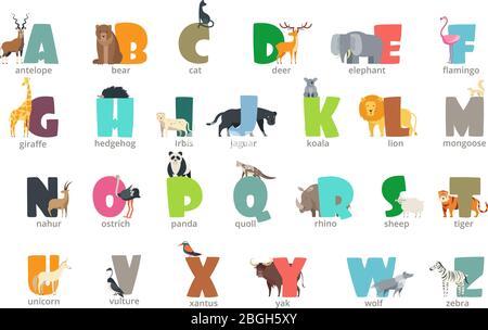 Cartoon wild animals kids alphabet for children studying english. Education vector background. Abc letter wildlife, giraffe and hedgehog, flamingo and elephant illustration