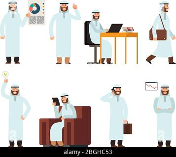 Arabic man in traditional islamic saudi ethnic clothes in different business situations. Arab vector characters set isolated. Illustration of people islam character in business work - Stock Photo