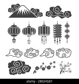 Vintage asian element silhouettes. Traditional chinese or japanese lamps, flowers, clouds. Vector oriental lantern and flower, cloud and branch illustration